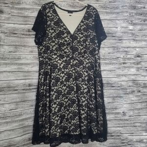 Torrid Black Tan Lace Short Sleeve Dress